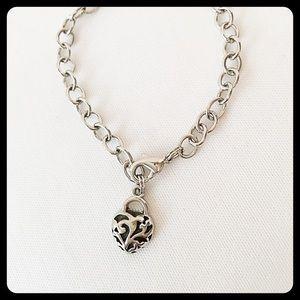 Lovey Dovey Heart Pendant Silver Bracelet